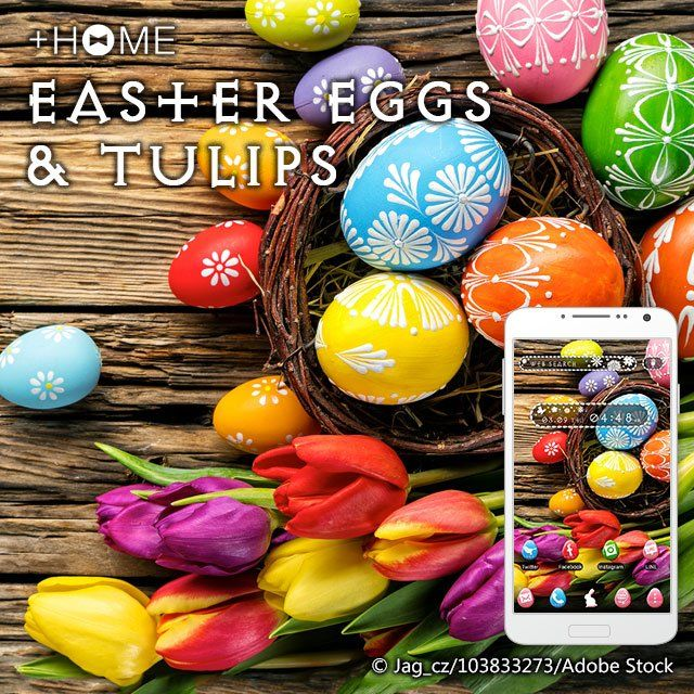 """Easter Eggs & Tulips""   Easter is coming, and this theme is sure to get you in the holiday spirit!  Download Now:http://bit.ly/2mOZKFj  #cute #wallpaper #design #icon  #beautiful #plushome #homescreen #widget #deco"