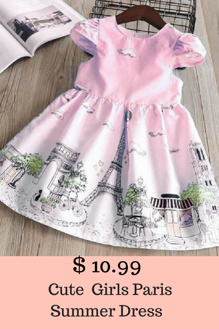 ed7a369d1 Cute Toddler Baby Kids Girls Paris Summer Party Skater Dress ...