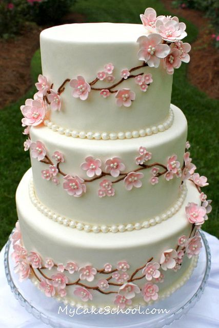Cherry Blossoms & Pearls!  A cake from a recent video tutorial of mine on MyCakeSchool.com ;0)