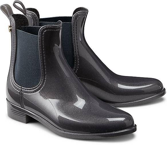 Die Schuhe von Lemon Jelly werden ausschließlich aus Gummi hergestellt und haben einen besonderen Zitronen-Geruch! Hier als Chelsea in Graumit tonigem Elastik-Einsatz.