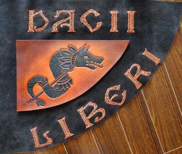 Handmade leather banner, Draco - the Dacian wolf