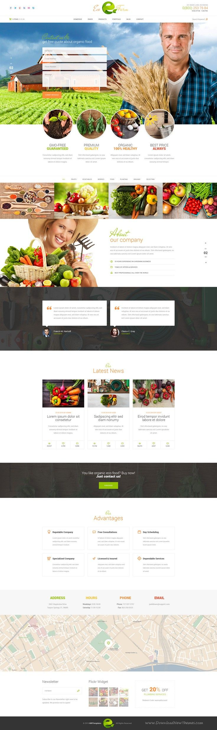 Eco Farm is a bright and eye catching #PSD template for farming, #organic food store, cattle farm or #agriculture company #website.