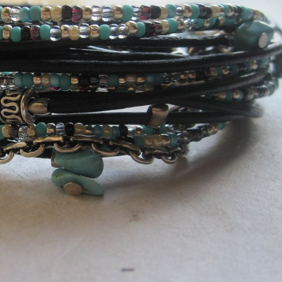 Wrap Bracelet  Free Spirit Style  Turquoise Beaded by DesignsbyNoa