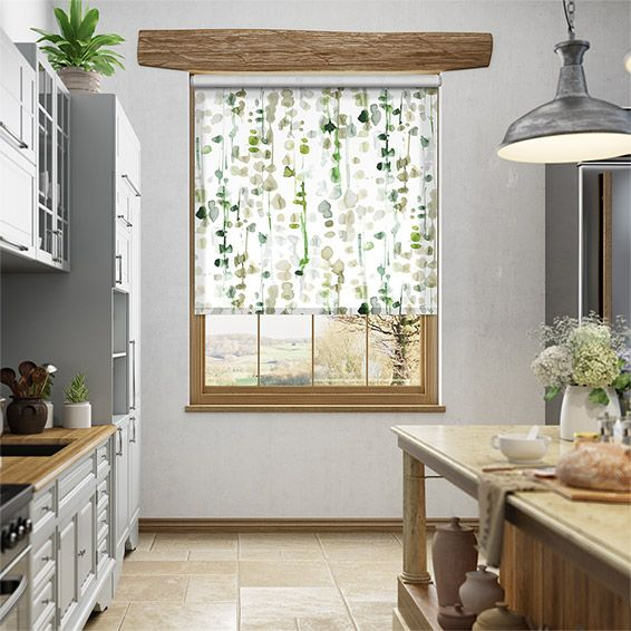 Choices Alyssa Linen Leaf Green Roller Blind%20from%20Blinds%202go