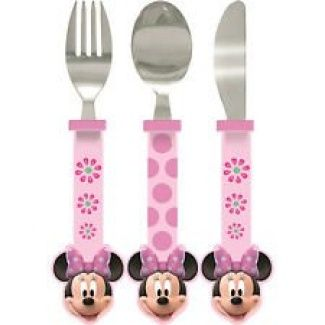 "Disney Minnie Mouse ""SHAPPED"" 3 Pc Cutlery Set for kids children includes knife, fork and spoon"
