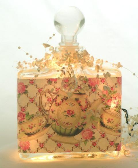 Tea and Roses Perfume Bottle Nightlight  ( Night Light ) - Roses And Teacups