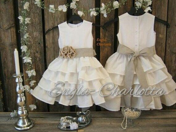 White linen flower girl dress. White flower by englaCharlottaShop