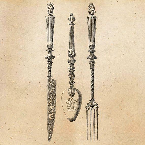 Vintage Knife Fork Spoon Illustration by SilverSpiralStudio