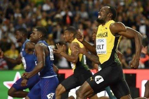 Usain Bolt of Jamaica finishes third place. (Dylan Martinez/Reuters)  (Someone please run outside and check the sky. Is it still blue? Is it falling?)  Bolt settled for the bronze medal Saturday in the 100-meter final at the world championships in London his final competition as a professional track star according to the athlete himself. Its the first time in his illustrious career that hes been beaten in the events final at the world championships or the Olympics for that matter. (He did…