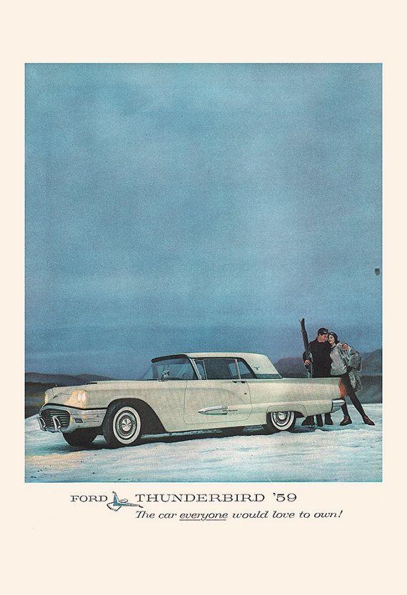 FORD THUNDERBIRD AD Rockabilly Car Poster by EncorePrintSociety