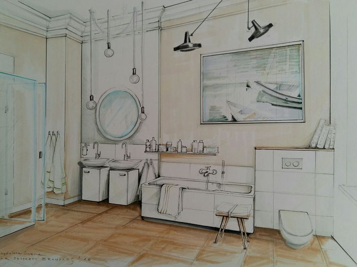 bathroom illustration by magdalena sobula interior design sketchessketch perspective
