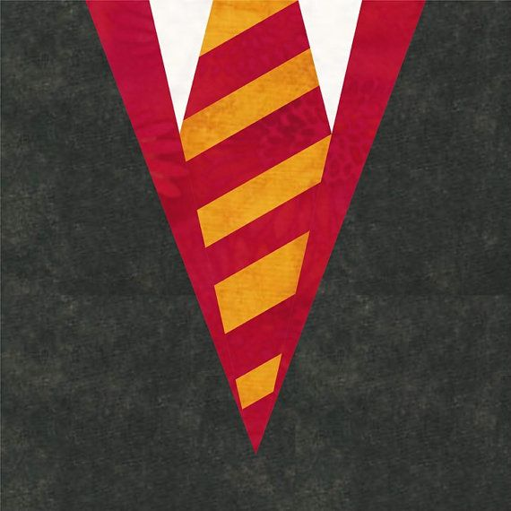 This quilt pattern design for foundation paper piecing is inspired by the colored scarfs that the students at Hogwarts wear.  The PDF file includes