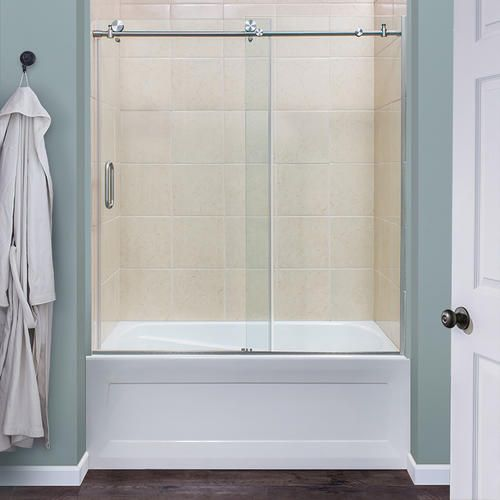 Foremost Marina 60 W X 62 H Brushed Nickel Semi Frameless Roller Tub Shower Door With Clear Glass In 2020 Tub Doors Shower Doors Bathtub Shower Doors