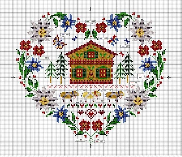 Home sweet home - winter scene cross stitch chart