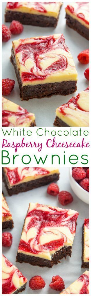 White Chocolate Raspberry Cheesecake Brownies - Baker by Nature