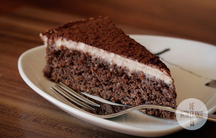 Schoko-Mandel Kuchen mit Cashew-Vanille-Creme - weizenfrei, vegan, milchfrei, eifrei