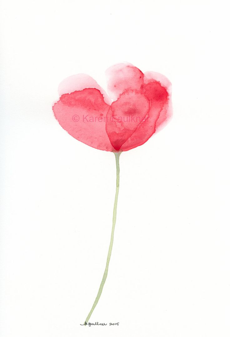 Art Painting Original Watercolor Of A Single Red Flower Blossoming Beauty By