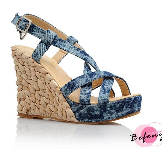 Wedges Sandals Women Plus Size 34-43 High Quality Straw Plaited Sole Platform Female Summer Shoes High Heels sapatos femininos