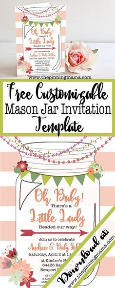Free template for a mason jar invitation - perfect for a southern or rustic themed bridal shower, baby shower or even a casual wedding! Just add your information to the blank invite to customize it for your occasion. So cute!!