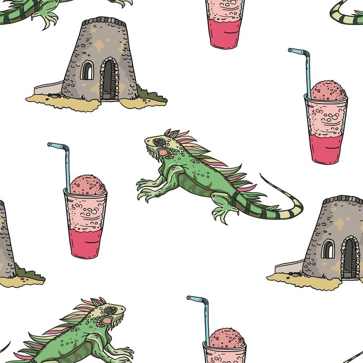 What turned out of my recent iguana drawing. Pattern dedicated to US Virgin Islands. Their famous Sugar mill Fraco ice drink and iguanas of course.