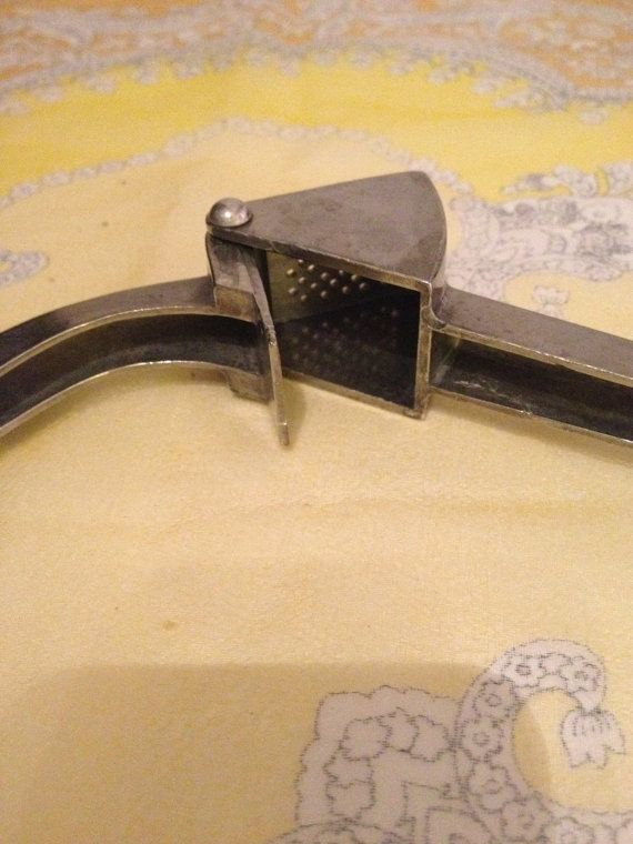 Mid-Century Vintage 1960 unique garlic press by SweetThursday (Home & Living, Kitchen & Dining, Cookware, Cooking Utensils & Gadgets, midcentury garlic, sweethursday garlic, upcycle garlic, reuse garlic, epsteam garlic, repurpose garlic, retro garlic press, shiny like new press, ex cond garlic press, kitchen garlic, kitchen tool press, kitchen tool, perfect garlic)
