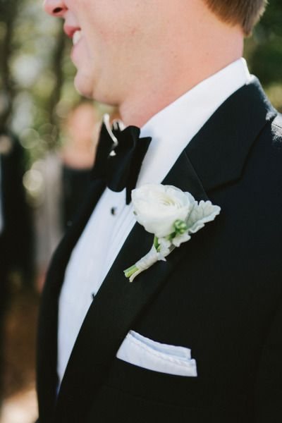 Ranunculus boutonniere: http://www.stylemepretty.com/little-black-book-blog/2015/02/09/casual-elegance-in-santa-rosa-beach/ | Photography: W&E - http://wephotographie.com/