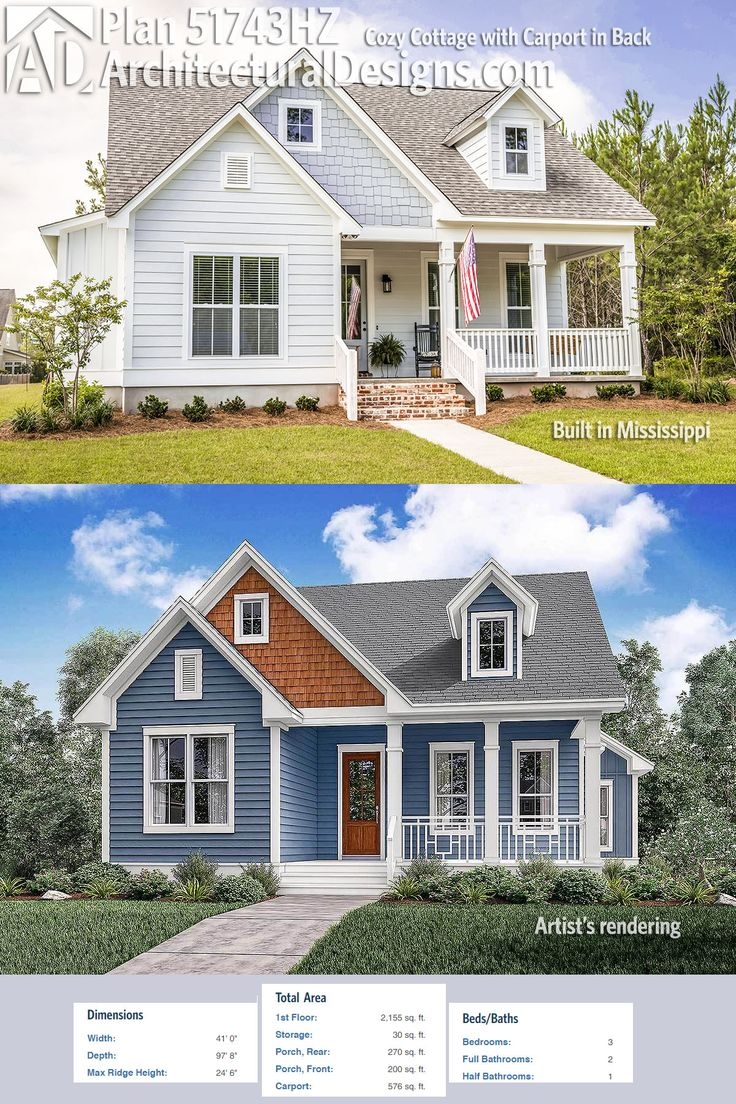 Architectural Designs Cottage House Plan 51743hz Gives You 3 Beds And Over 2 100 Square Feet Of