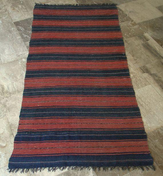 Vintage  Rug Runner Cinammon and Grey Striped Cotton Wool Long  by VintageHomeStories,