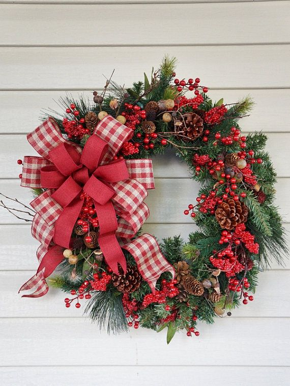 Christmas Wreath, Winter Wreath, Pine Cone Wreath, Rustic Wreath, Country…