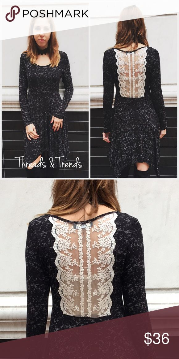 Girly Speckled Swing Dress Charcoal grey  dress featuring a beautiful lace back. Flattering asymmetrical hem Dresses