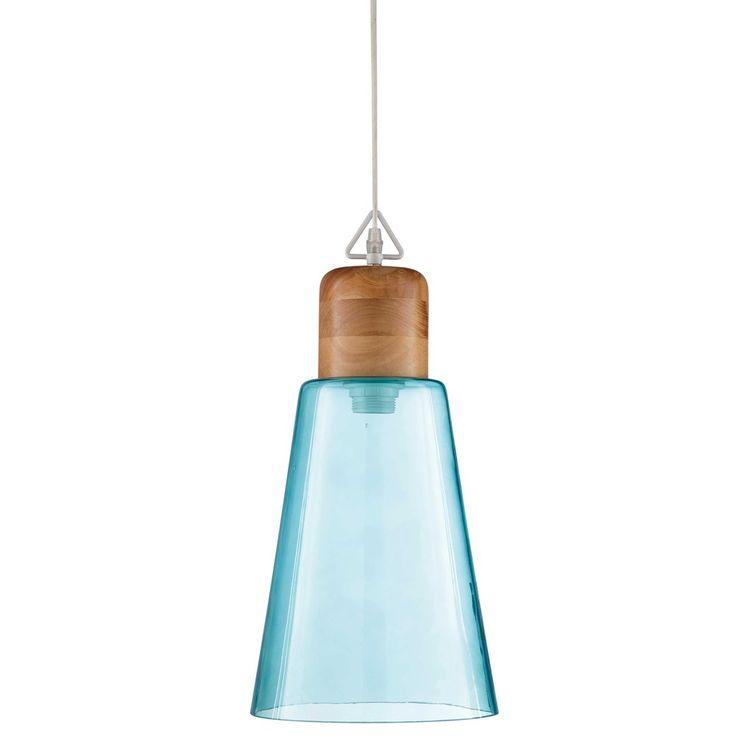 simple blue tinted glass pendant d cm op art maisons du monde with maison du monde art de la table. Black Bedroom Furniture Sets. Home Design Ideas