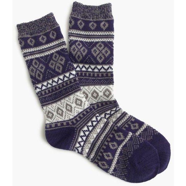 J.Crew Marled-cuff Fair Isle socks ($15) ❤ liked on Polyvore featuring intimates, hosiery, socks, tights, patterned socks, print socks, j.crew, j crew socks and patterned hosiery