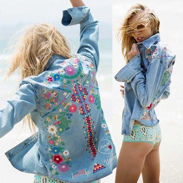 Denim jacket women fashion jacket denim koszula topy długie rękawy niebieski vintage boho hippie chic haft kurtka kobiety odzież