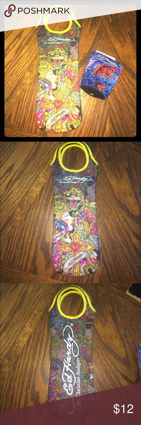 🚨CLOSET CLEAROUT🚨 Ed Hardy wine bag and can cozy New condition. Can cozy is NWT. Ed Hardy Other