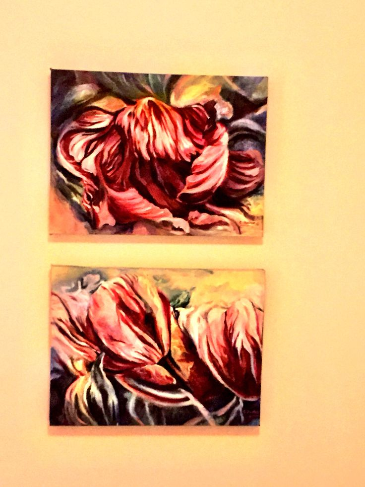 Tulips are blossoming! Paintings brighten up the bedroom and now I can pretend it's Spring.