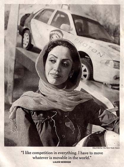 LALEH SEDDIGH, IRANIAN FORMULA 3 RACE CAR DRIVER. SHE IS RECOGNIZED AS THE BEST FEMALE RACER IN THE COUNTRY.
