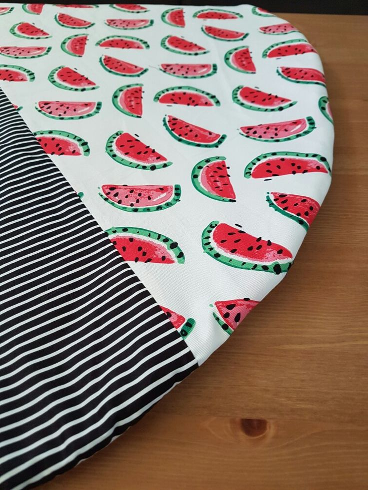 Watermelon play mat, split detailing with black and white stripes.  Little Swan Designs