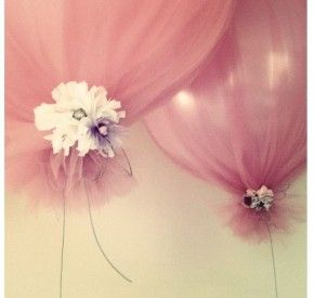 Tulle-wrapped balloons!   (Cute idea for a shower or bridesmaids' luncheon)
