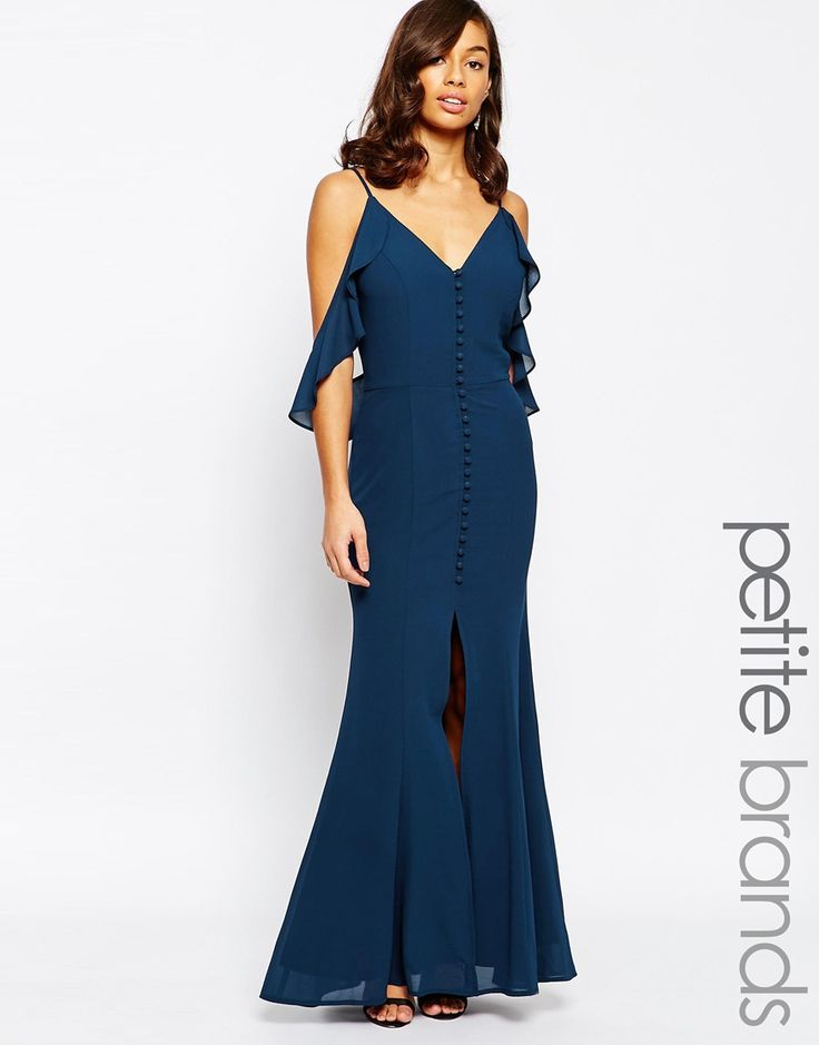 Jarlo Petite Button Through Maxi Dress With Frill Shoulder Detail