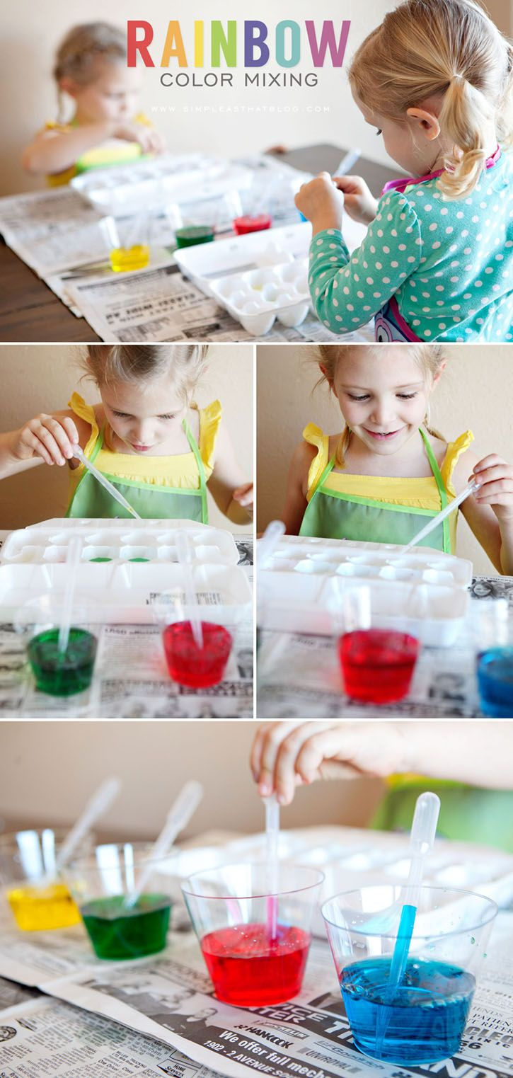 Brighten up any day with rainbow color mixing activity /// this hands down my kids favorite