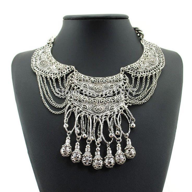 2015 bohème Antique argent collier pompon millésime gitane turc à la mode indienne ethnique collier pour femmes mode bijoux dans Colliers de chaînes de Bijoux sur AliExpress.com | Alibaba Group