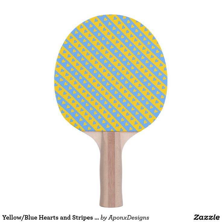 Yellow/Blue Hearts and Stripes Pattern Paddle