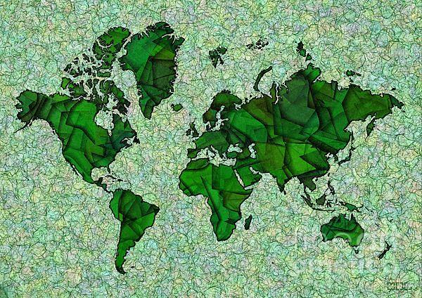 World Map Takkede In Green by elevencorners. World map art wall print decor #elevencorners #maptakkede