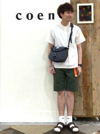coen鹿児島店|coen  前田さんの「USAコットンバンドカラー半袖シャツ(coen|コーエン)」を使ったコーディネート