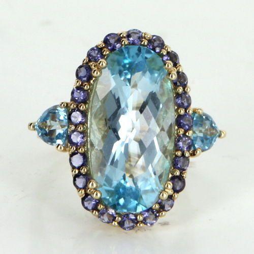 Blue-Topaz-Iolite-Cocktail-Ring-Vintage-14k-Yellow-Gold-Estate-Fine-Jewelry