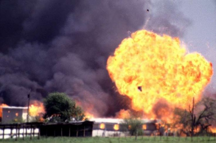 April 19,  1993: WACO SIEGE ENDS IN EXPLOSION  -    The 51-day siege at the Branch Davidian compound near Waco, Texas, ends as fire destroyed the structure after federal agents began smashing their way in; dozens of people, including sect leader David Koresh, were killed.