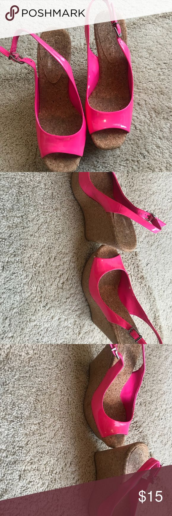 Jessica Simpson , hot pink wedges Jessica Simpson, hot pink wedge  Size 8  Like new Jessica Simpson Shoes Wedges