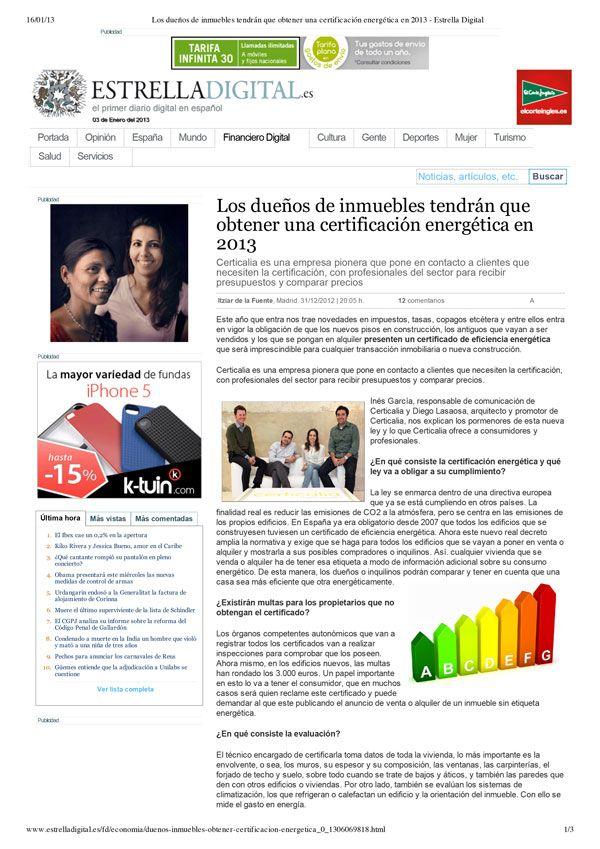 Certicalia en Estrella Digital sobre Certificacion Energetica de Edificios. http://www.certicalia.com/
