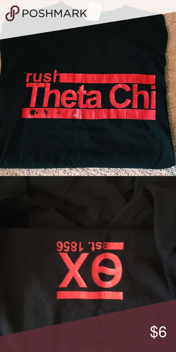 LAST CHANCE‼️Black fraternity rush tee Rush theta chi. Letters are cracked make an offer // donating in August if no one wants it // tagged for views Vineyard Vines Shirts Tees - Short Sleeve
