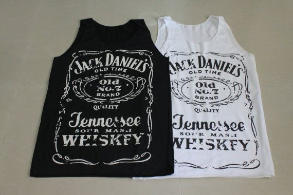 Brand new Women Jack Daniels tank top tee t-shirt black and white ... S-M Size on Etsy, $14.99